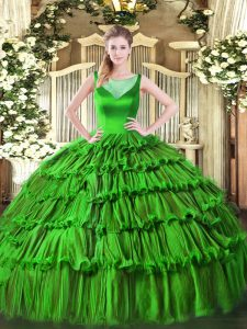 Simple Green Ball Gowns Organza Scoop Sleeveless Beading and Ruffled Layers Floor Length Side Zipper Quinceanera Dress