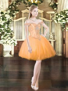 Custom Designed Mini Length Orange Red Prom Evening Gown Tulle Sleeveless Beading
