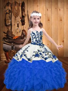 Blue Ball Gowns Embroidery and Ruffles Little Girl Pageant Dress Lace Up Organza Sleeveless Floor Length