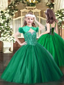 Discount Dark Green Sleeveless Beading Floor Length Girls Pageant Dresses