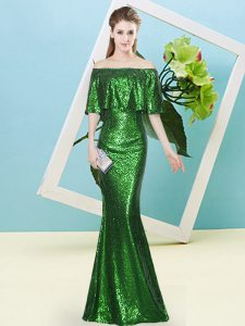 Dark Green Half Sleeves Floor Length Sequins Zipper Prom Evening Gown