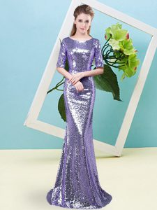 Enchanting Lavender Mermaid Sequined Scoop Half Sleeves Sequins Floor Length Zipper Prom Dress
