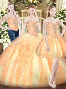 Gold Sleeveless Floor Length Ruffles Lace Up Quinceanera Gowns