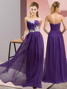 Sweetheart Sleeveless Evening Dress Floor Length Appliques Purple Chiffon