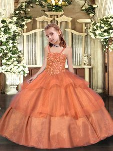 Orange Organza Lace Up Little Girl Pageant Gowns Sleeveless Floor Length Beading and Ruffled Layers