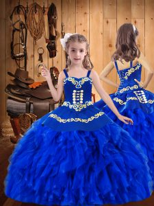 Dazzling Royal Blue Ball Gowns Straps Sleeveless Organza Floor Length Lace Up Embroidery and Ruffles Little Girls Pagean