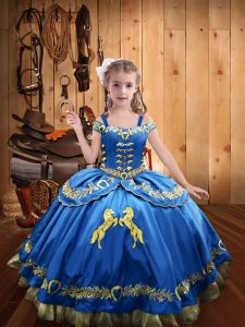 Superior Satin Sleeveless Floor Length Kids Formal Wear and Beading and Embroidery