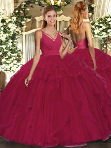 Exceptional Floor Length Backless Sweet 16 Quinceanera Dress Fuchsia for Sweet 16 and Quinceanera with Beading and Ruffl
