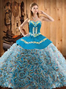 Latest Satin and Fabric With Rolling Flowers Sweetheart Sleeveless Sweep Train Lace Up Embroidery Quinceanera Gown in Mu