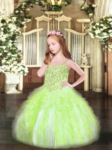 Adorable Ball Gowns Kids Formal Wear Yellow Green Spaghetti Straps Organza Sleeveless Floor Length Lace Up