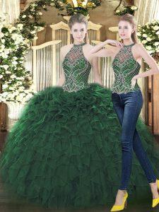 Glittering Dark Green Sleeveless Beading and Ruffles Floor Length Ball Gown Prom Dress