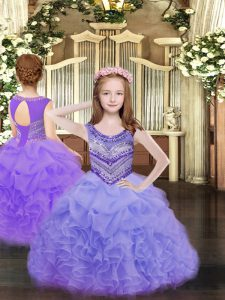 Nice Floor Length Lace Up Pageant Dresses Lavender for Party and Quinceanera with Beading and Ruffles and Pick Ups