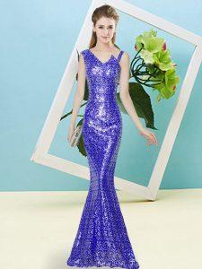Deluxe Sleeveless Zipper Floor Length Sequins Prom Party Dress