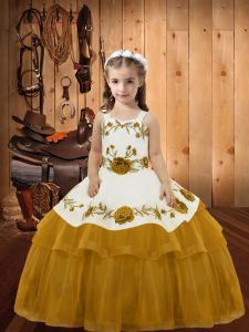Gold Sleeveless Floor Length Embroidery and Ruffled Layers Lace Up Kids Pageant Dress