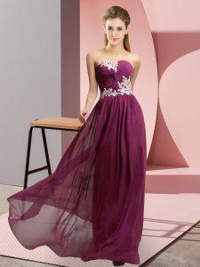 Dark Purple Chiffon Lace Up Sweetheart Sleeveless Floor Length Homecoming Dress Appliques