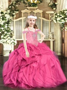 Exquisite Floor Length Ball Gowns Sleeveless Hot Pink Little Girl Pageant Gowns Lace Up