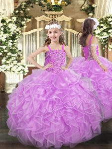 Custom Made Floor Length Ball Gowns Sleeveless Lilac Little Girl Pageant Gowns Lace Up