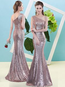 Sequined Sleeveless Floor Length Evening Dress and Sequins