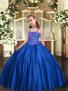 Royal Blue Kids Pageant Dress Party and Sweet 16 and Quinceanera and Wedding Party with Beading Straps Sleeveless Lace U