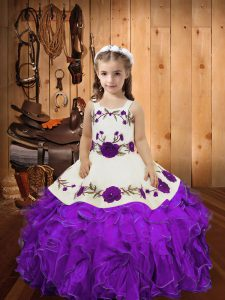 Latest Eggplant Purple Organza Lace Up Little Girl Pageant Gowns Sleeveless Floor Length Embroidery and Ruffles