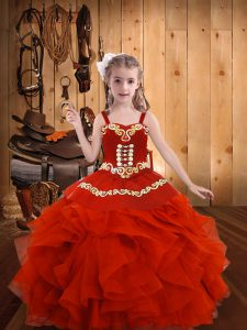 Custom Fit Coral Red Little Girls Pageant Dress Wholesale Party and Sweet 16 and Quinceanera and Wedding Party with Embr