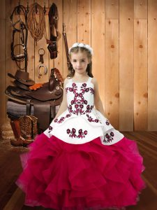 Fuchsia Straps Neckline Embroidery and Ruffles Pageant Gowns Sleeveless Lace Up