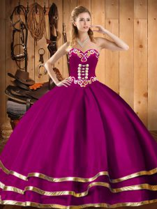 New Style Fuchsia Sweetheart Lace Up Embroidery Quinceanera Gowns Sleeveless