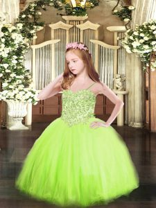 Popular Yellow Green Lace Up Pageant Dress Toddler Appliques Sleeveless Floor Length