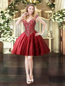 Admirable Sleeveless Mini Length Beading Lace Up Prom Dress with Wine Red