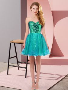 Decent Teal A-line Sweetheart Sleeveless Tulle Mini Length Zipper Sequins Prom Evening Gown