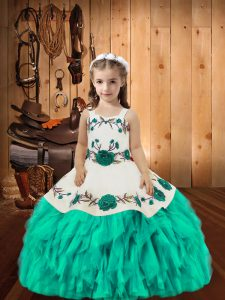 Custom Fit Floor Length Aqua Blue Girls Pageant Dresses Organza Sleeveless Embroidery and Ruffles
