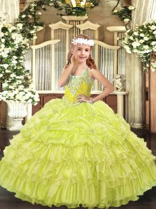 Best Floor Length Yellow Green Pageant Dress for Girls Organza Sleeveless Beading and Ruffled Layers and Pick Ups