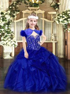Royal Blue Lace Up Straps Beading and Ruffles Pageant Gowns For Girls Organza Sleeveless