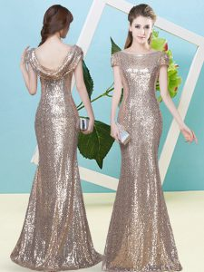 Champagne Mermaid Sequins Prom Gown Zipper Sequined Cap Sleeves Floor Length