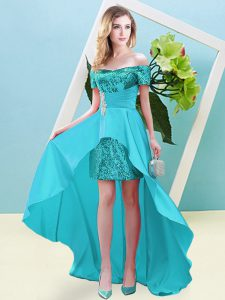 Aqua Blue Empire Elastic Woven Satin and Sequined Off The Shoulder Short Sleeves Beading High Low Lace Up Homecoming Dre