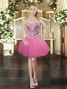 Glamorous Tulle Sleeveless Mini Length Prom Dresses and Beading