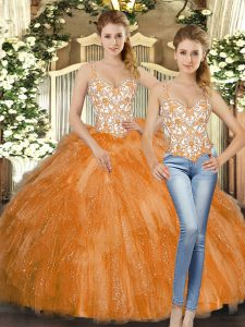 Orange Red Ball Gowns Beading and Ruffles 15th Birthday Dress Lace Up Organza Sleeveless Floor Length