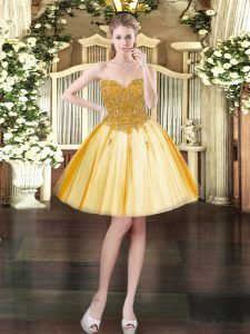 Gold Homecoming Dress Prom and Party with Beading Sweetheart Sleeveless Lace Up