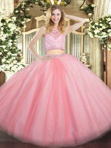 Super Beading Sweet 16 Quinceanera Dress Baby Pink Zipper Sleeveless Floor Length