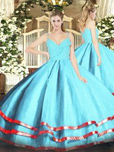 Luxurious Floor Length Ball Gowns Sleeveless Aqua Blue Quinceanera Dress Zipper