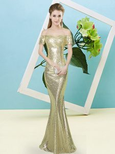 Designer Short Sleeves Zipper High Low Sequins Prom Party Dress