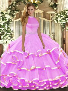 Custom Fit Lilac Halter Top Neckline Beading and Ruffled Layers Vestidos de Quinceanera Sleeveless Backless