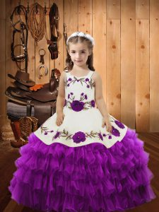 Straps Sleeveless High School Pageant Dress Lace Eggplant Purple Organza