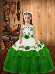 Super Floor Length Green Little Girl Pageant Dress Straps Sleeveless Lace Up