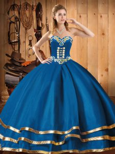 Ball Gowns Vestidos de Quinceanera Blue Sweetheart Organza Sleeveless Floor Length Lace Up
