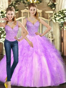 Glamorous Floor Length Lace Up Vestidos de Quinceanera Lilac for Military Ball and Sweet 16 and Quinceanera with Beading