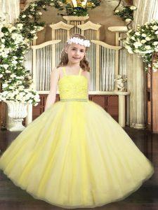 Custom Fit Straps Sleeveless Zipper Little Girls Pageant Dress Wholesale Yellow Tulle