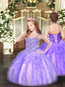 Sleeveless Lace Up Floor Length Appliques and Ruffles Kids Formal Wear