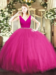 Fashion Tulle Sleeveless Floor Length Quinceanera Dress and Beading