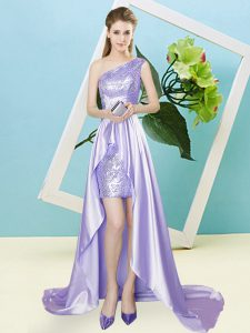 Luxury Lavender Elastic Woven Satin and Sequined Lace Up One Shoulder Sleeveless High Low Prom Dress Sequins